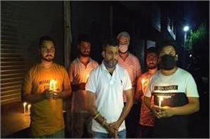 tribute paid to martyr with candle march in vijaypur