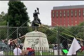 trump threatens to imprison protesters tried to pull down statue of andrew