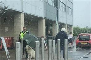 photo viral guard rescued dog soaked in rain