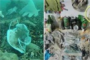 discarded corona face masks and gloves rising threat to ocean life