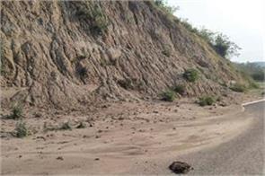 jammu purmandal road blocked due to landslide