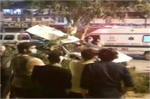delhi high speed car falls below flyover two youth seriously injured