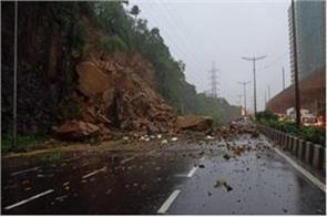 landslide in mumbai after rain rock falls on highway