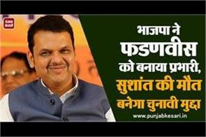 bjp made fadnavis in charge sushant s death will become an election issue