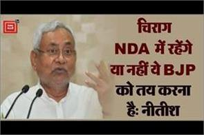 bjp has to decide whether chirag will stay in nda or not nitish