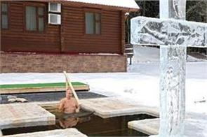 russian president putin bath in icy water