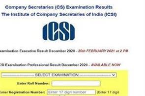 icsi cs result 2021 results of cs professional exams released