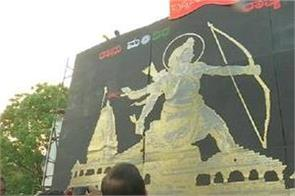 artist created a amazing structure of ram temple with 60 thousand coins