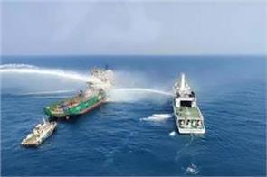 ship fire near mumbai coast one injured three naval missing rescue continues