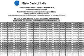 sbi releases first waiting list of 8134 posts