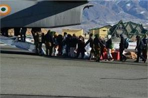 air force transported 381 stranded passengers in jk to ladakh