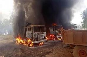 naxalites did not like road construction fire in 12 vehicles