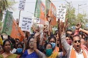 protest by bjp workers in bengal clashes between activists and police