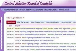 bihar police home guard constable recruitment exam result released