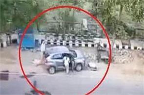 a woman busy on the phone rammed a car on an elderly couple