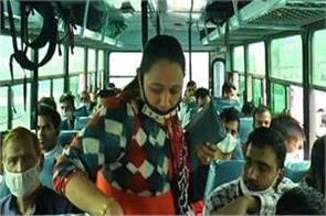 haryana buses are flying the corona rules