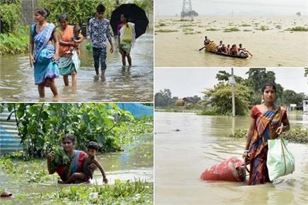 बिहार और असम में बाढ़ से तबाही का मंजर, देखें तस्वीरें