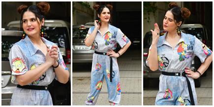 ट्रैफिक लाइट वाले इयररिंग्स और कार्टून प्रिंट ड्रेस में जरीन खान का...