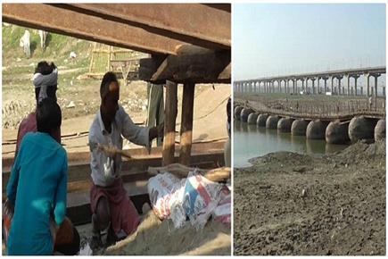 कुंभ 2019: संगम क्षेत्र में शुरू पीपे के पुल का निर्माण