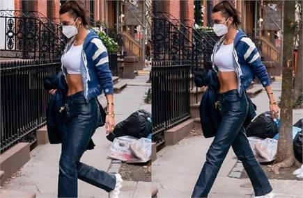 न्यूयॉर्क की सड़कों पर स्पॉट हुई बेला हदीद, व्हाइट क्रॉप टॉप और ब्लू...