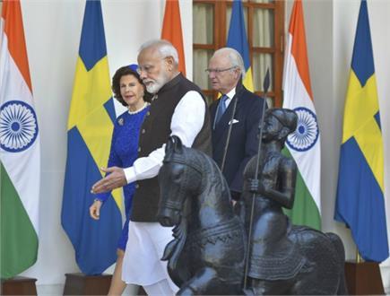 पांच दिवसीय यात्रा पर भारत पहुंचा स्वीडन का शाही जोड़ा