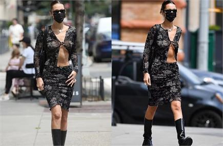 न्यूयॉर्क की सड़कों पर घूमती दिखी बेला हदीद, ब्लैक ट्रांसपेरेंट...