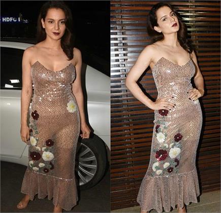 ट्रांसपेरेंट ड्रेस पहन फिल्म की WRAP UP पार्टी में पहुंचीं कंगना,...