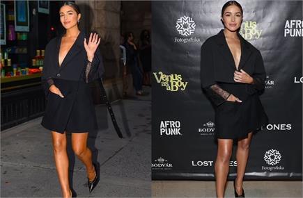 न्यूयॉर्क में स्पॉट हुई Olivia Culpo, ब्लैक शॉर्ट ड्रेस में लगाया...
