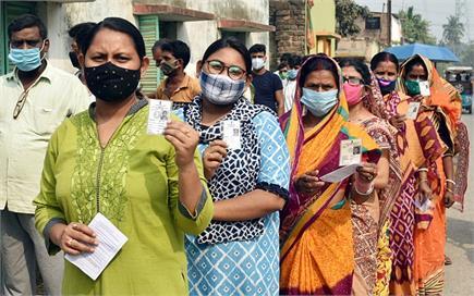 कोरोना संकट के बीच बंगाल में मतदान, भारी संख्या में वोट डालने पहुंचे...