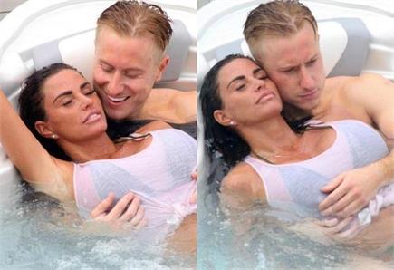 बॉयफ्रेंड के साथ नहाते हुए रोमांटिक हुईं केटी प्राइस, पानी में...