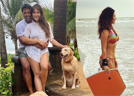 लिएंडर पेस संग गोवा बीच पर दिखीं बॉलीवुड अभिनेत्री Kim Sharma