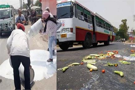 मांगों को लेकर सड़क पर अन्नदाता, कहीं फेंकी सब्जियां तो कहीं बहाया दूध