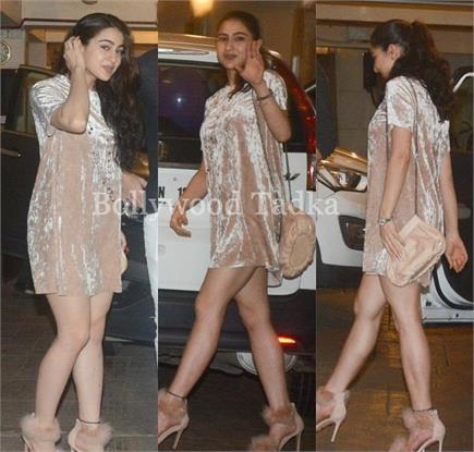 शॉर्ट ड्रेस पहन पापा सैफ के बर्थडे बैश में पहुंची सारा अली खान, देखें...