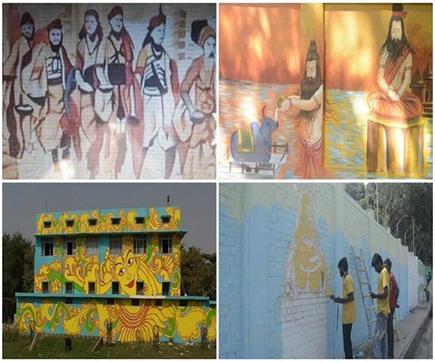 प्रयागराज में कुंभ 2019 से पहले दीवारों पर सजने लगीं कलाकृतियां