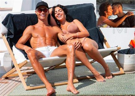 बोट पर गर्लफ्रैंड Georgina Rodriguez के साथ रोमांटिक हुए रोनाल्डो,...