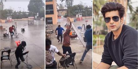 karan kundrra cyclone tauktae on shooting