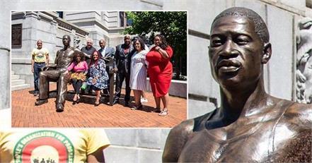 usa  george floyd  bronze statue  inauguration