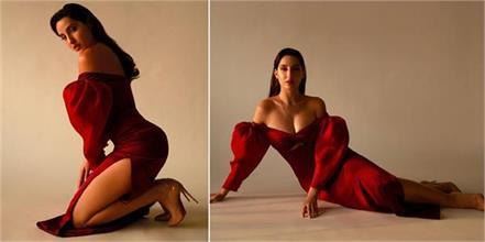 nora fatehi bold pics in red dress