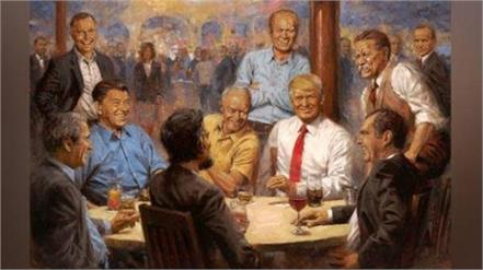 story painting of donald trump chilling in bar is now hanging at the white house