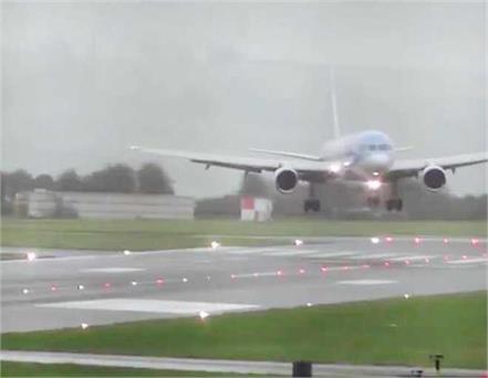 video pilot s daring sideways landing at bristol airport during storm