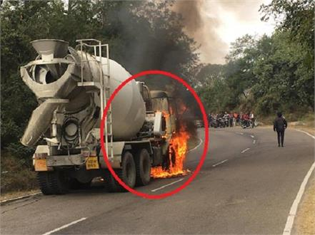 gagret hoshiarpur road on got in the truck terrible fire