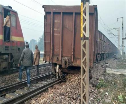 two bogies of the goods train derailed in ferozabad