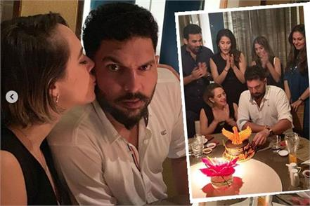 yuvraj singh celebrate 37th birthday with wife hazel keech  friend