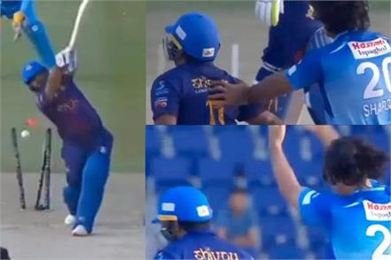 t 10 league  bowler pushing mohammad shehzad fast watch video