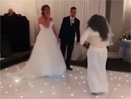 groom s  crazy ex  crashes wedding wearing bridal gown