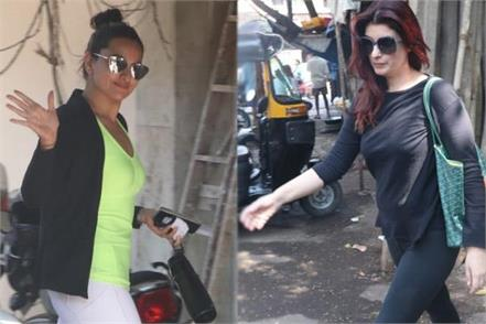 sonakshi sinha twinkle khanna spotted at outside the gym