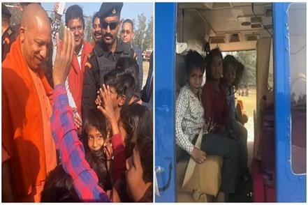 gorakhpur cm yogi sits childrens in his helicopter