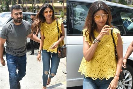 shilpa shetty spotted with husband raj kundra