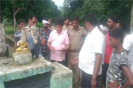 ambedkar statue damaged in kaushambi