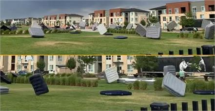 mattresses flying across park as strong wind hits watch video